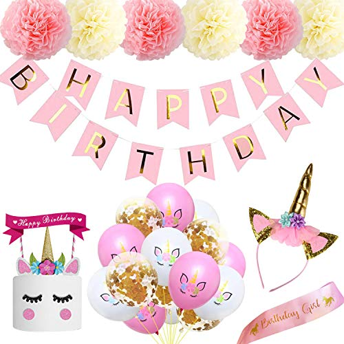 Ywen Unicorn Party Supplies 8inch Pink Birthday Banner Decorations Paper Pompom ,Unicorn Cake Topper Headband and Birthday Sash for Girl,12inch Unicorn Birthday Balloon -
