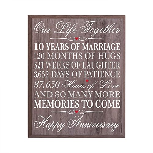 10th Wedding Anniversary Wall Plaque Gifts for Couple, 10th Anniversary Gifts for Her,10th Wedding Anniversary Gifts for Him 12 Inches Wide X 15 Inches Plaque By Dayspring Milestones (Salt oak)