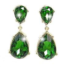 Ever Faith Bridal Silver-Tone Teardrop Dangle Earrings Clear Austrian Crystal - 2.5 Inch Long N00452-1