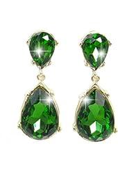 EVER FAITH® Gold-Tone Teardrop Dangle Earrings Emerald Color Austrian Crystal