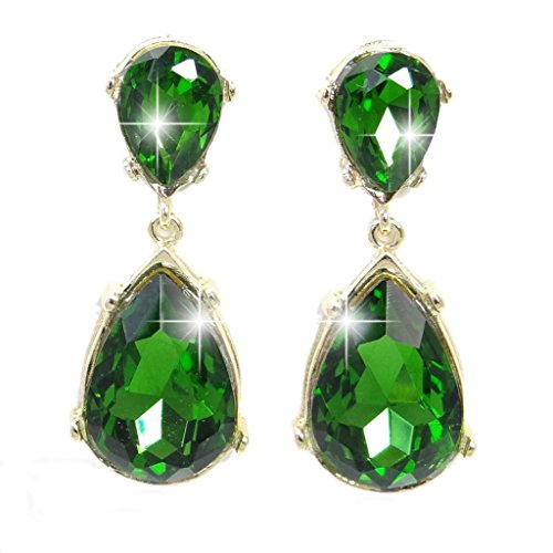 EVER-FAITH-Gold-Tone-Teardrop-Dangle-Earrings-Emerald-Color-Austrian-Crystal