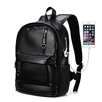 729f51399ba6 KISSUN Backpack For Women Men Trendy PU Leather School College Bookbag USB  Charging Port 13.3 inch