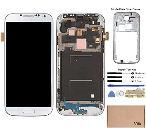 Display Touch Screen (AMOLED) Digitizer Assembly with Frame for Samsung Galaxy S4 (SIV) SGH-I337 (AT&T) / SGH-M919 (T-Mobile)(for Mobile Phone Repair Part Replacement) (White Frost) (Tmobile Galaxy S4 Lcd Replacement)