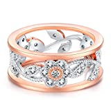 LILILEO Jewelry 8mm Alloy Openwork Lucky Flower Vine Leaves Inlaid Zircon Ring For Women's Wedding Rings