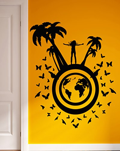 45' Tropical Home Decor - Wall Stickers Sexy Girl Relax Travel Tropical Palms Recreation Positive Decor Vinyl Decal (ig2360)