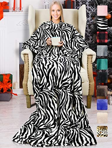 Wearable Fleece Blanket with Sleeves for Adult,Super Soft Comfy Plush TV Blanket