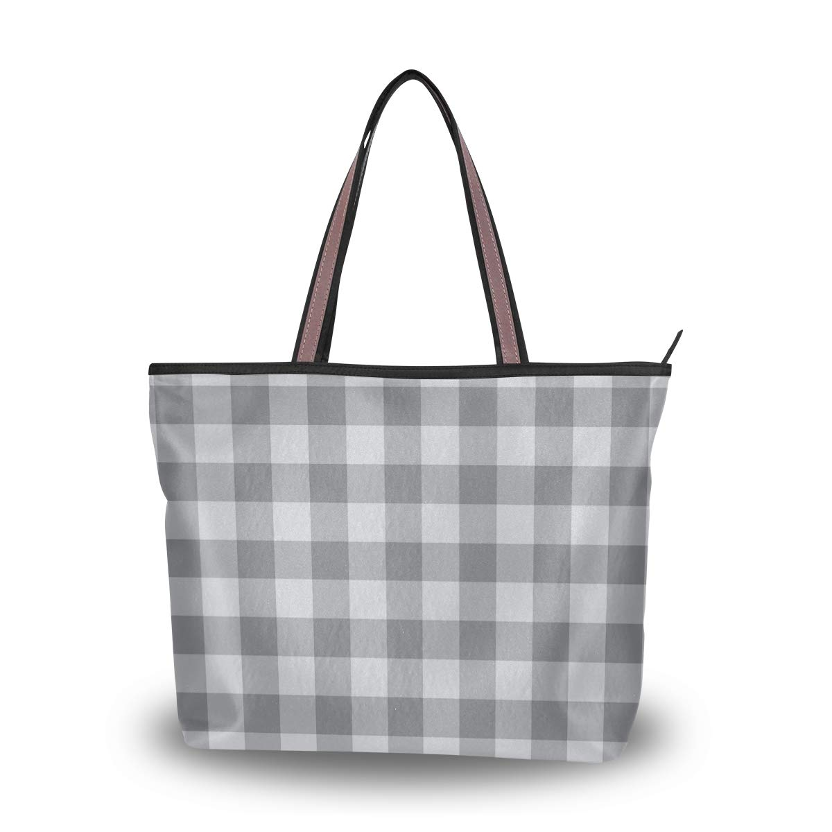 7fa7f55c2e73 Amazon.com  Clean Light Gray Checkered Pattern Travel Shopping Zipper  Female Bag Ladies Foldable Waterproof Overnight Mini Student Bag Light  Handbag ...