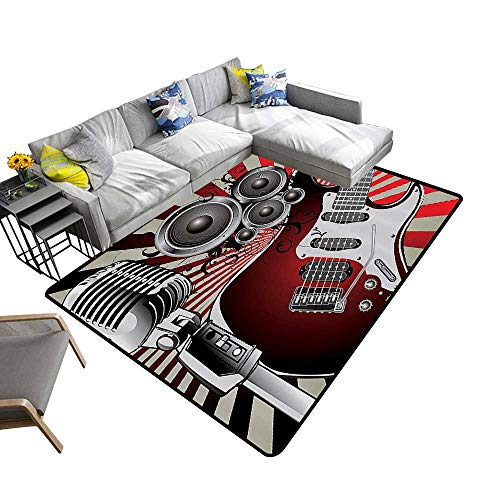 Super Cozy Bathroom Rug Carpet Music Old Shied Speaker Loudspeaker al Striped Background Bathroom Access Provides Protection and Cushion for Floors 6' X 9'