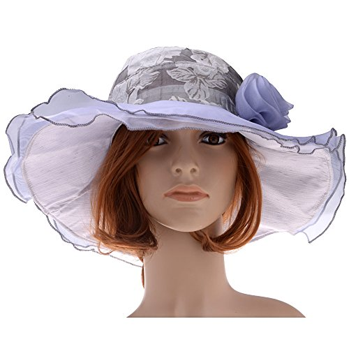 Vbiger Women Floral Pattern Chiffon Layer Kentucky Derby Wide Brim Hat (Gray)