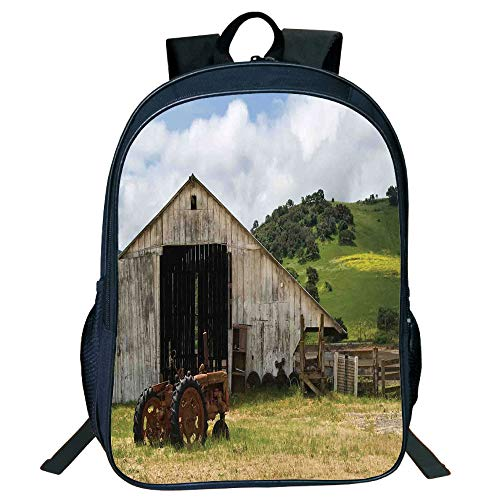 iPrint Personal Tailor Black Double-Deck Rucksackk,Farm House Decor,Old Wooden Barn Rusted Tractor on Hillside Enclosed Wooden Fence Trees,Green White Kids,Diversified Design.15.7
