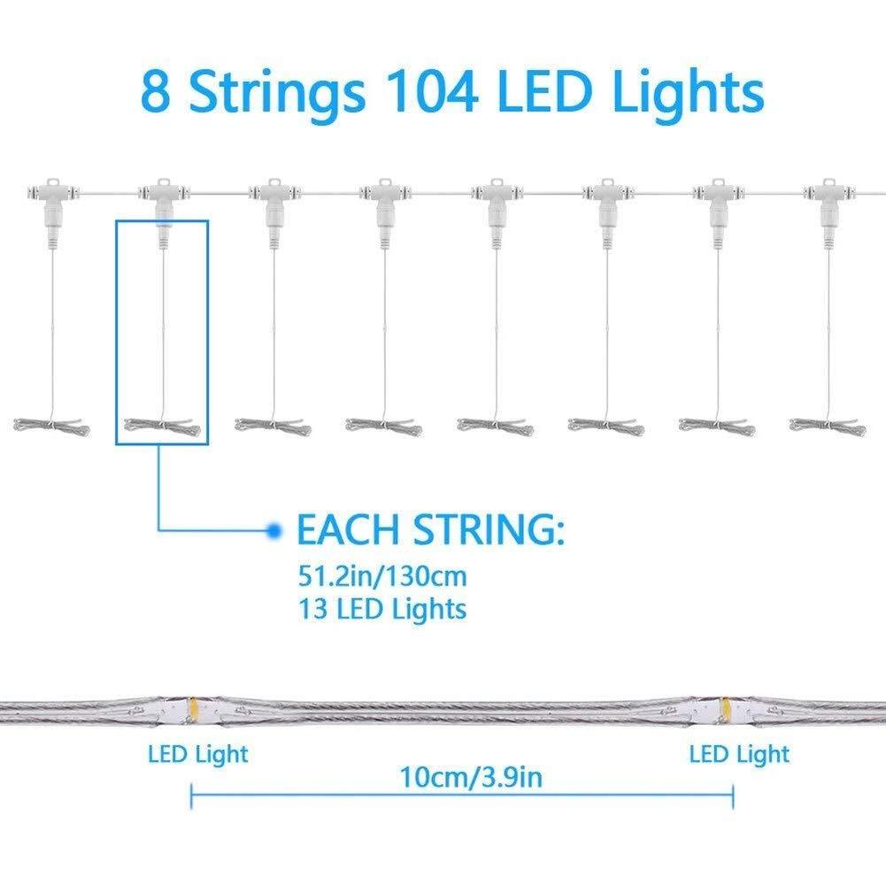 LAMPSJN LED-Regenschirm-Licht LED 104 8 Beleuchtungsmodus Size : OneSize Zelt for Outdoor-Sonnenschirm 8 Ebene Dimming Camping im Freien wasserdichte Beleuchtung