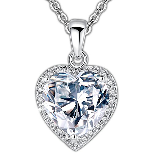 (GOSPARKLING Heart Necklace for Women with 5A Cubic Zirconia Heart Pendant Luxurious White Gold Plated, Best Gift for Women and Girls for Valentine's Day, Hypoallergenic Chain)
