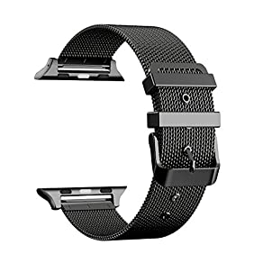 For Apple Watch Band, FYW 42mm Milanese Loop Stainless Steel Metal Replacement Band for Apple Watch Series 2, Series 1, Sport, Edition,with Classic Buckle (42MM-BLACK)
