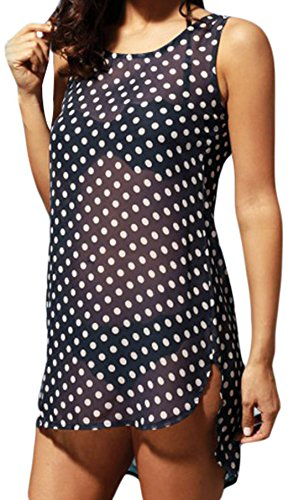 Elsa Steen - Damen gepunktetes Strandkleid im High Low Vokuhila Stil , XS-2XL, Schwarz