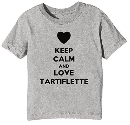 Keep Calm and Love Tartiflette Kids Unisex Boys Girls T-Shirt Grey Tee Crew Neck Short Sleeves X-Small Size XS