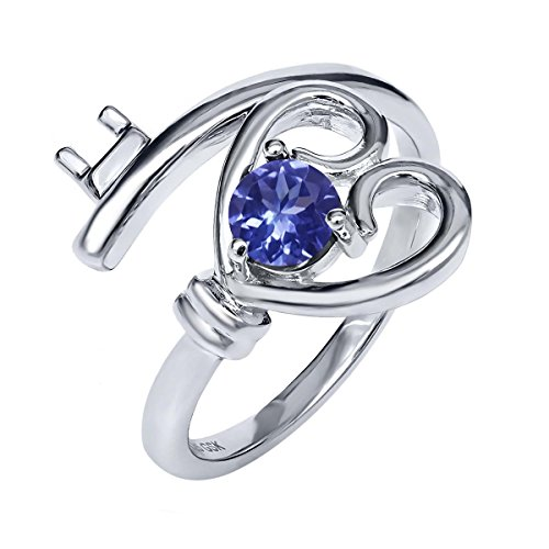 0.46 Ct Round Blue Tanzanite AAAA 925 Sterling Silver Heart Key Ring (0.46 Ct Heart)