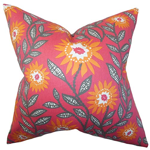 The Pillow Collection Leena Floral Floor Pillow Sherbet
