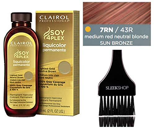 (Clairol Soy4Plex LiquiColor PERMANENT Liquid HAIR COLOR (w/Sleek Tint Brush) Gray Busters Permanente Professional Grey Haircolor (7RN / 43R Medium Red Neutral Blonde Sun Bronze))