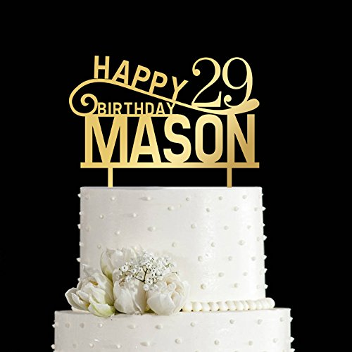 KISKISTONITE 29-year Cake Toppers Happy Birthday 29th Name Customized | Birthday Personalized Cake Decoration Favors Party Golden Cake Decorating Supplies
