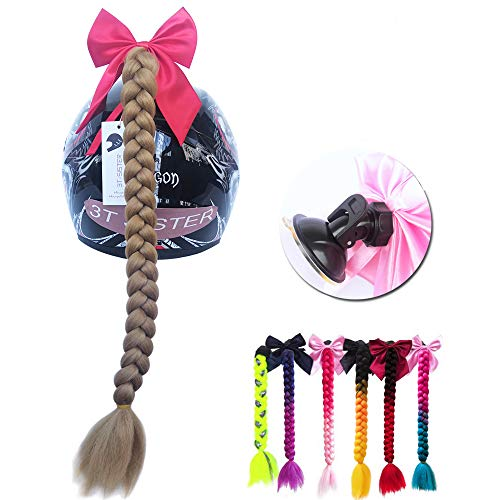 3T-SISTER Helmet Pigtails Gradient Ramp Helmet Braids Ponytail Helmet Hair with Suction Cup with Bowknot for Motor Bike 1PCS 24inch Light Brown Color