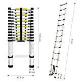 Finether 16.4ft Aluminum Telescopic Extension Ladder | Multi-Purpose Telescoping Ladder,EN 131 Certified with Finger Protection Spacers, Anti-Slip Treads and 331 lbs Capacity