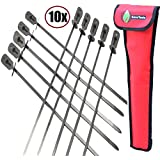 Cave Tools BBQ Skewers Set (10) - Extra Long 17.3 inch SHISH Kabob - Flat Stainless Steel Wide Metal Barbecue Cooking Sticks with Food Removal Ring and Canvas Storage Case for Hanging on Grill