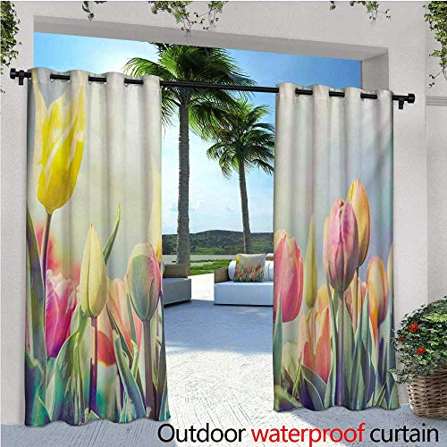 homehot Pastel Indoor/Outdoor Single Panel Print Window Curtain Tulips Flower Bed in Park Serene Landscape Happiness Fresh Spring Environment Image Silver Grommet Top Drape W72 x L84 Multicolor