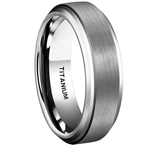 MNH 6mm Titanium Ring Brushed Matte Finish Beveled Edge Comfort Fit Wedding Engagement Band - Edge Titanium Ring