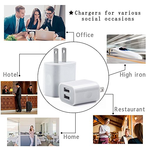 IETGZ 5V 2A Dual Port USB Wall Charger 4 Pack Travel Charging Plug for Apple iPad iPhone iPod 5 6 7 8 and Samsung LG Mobile Phone and Tablet White Color