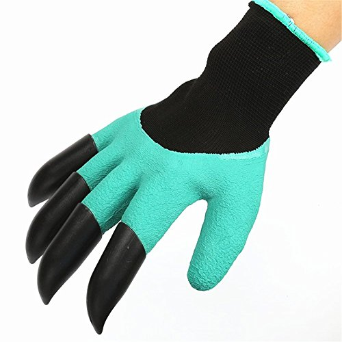 Garden Genie Gloves with Fingertips Uniex Right Claws Quick & Easy to Dig and Plant Safe for Rose Pruning, Digging & Planting Nursery Plants - As Seen On TV (Right Hand Claw 1 pair)
