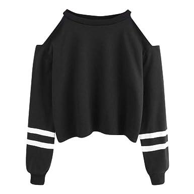 Court Blouse Longues Pull Swag Femmes Tops Manches Épaule Sport Manche Hauts Sexy Chemisier Sweat Hip ModeQinmm Ouvertes Shirt Off Hop 4LcAj35qR