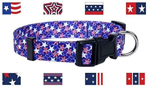 Durable Polyester Flag Measures - Native Pup American Flag Dog Collar (Large, Stars)