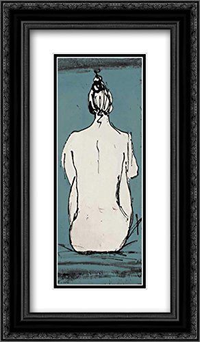 Nude Sketch on Blue II 2x Matted 14x24 Black Ornate Framed Art Print by Pinto, Patricia