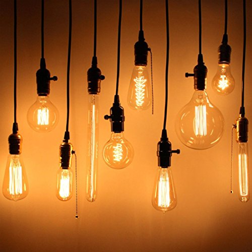 E26/ E27 Solid Industrial Triple Light Sockets, Sopoby Vintage Edison Hanging Textile Pendant Light Cord Kit with Plug by Sopoby (Image #5)
