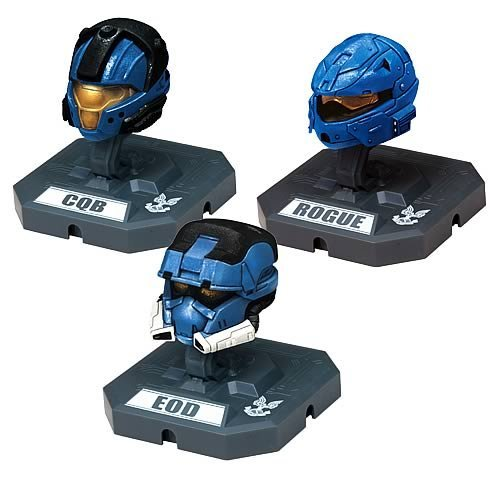 McFarlane Toys Action Figures - Halo 3 Helmet 3-Pack Wave 2 - CQB, ROGUE, EOD (All Blue)]()
