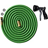 2017 DESIGN TRIPLE LAYER LATEX CORE, 50-FT Expandable Garden Hose, Strong Brass Connectors (Not Plastic), Chrome Metal Multi-Setting Spray Nozzle, 100% Customer Satisfaction Warranty - 50 FT