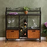 Cecelia Bakers Rack with Wine Storage, Gunmetal Gray