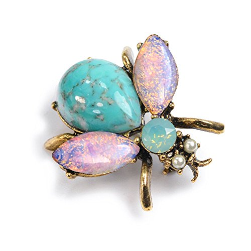 Sweet Romance Vintage Gold Bee Bug Insect Brooch Pins (Bee You -