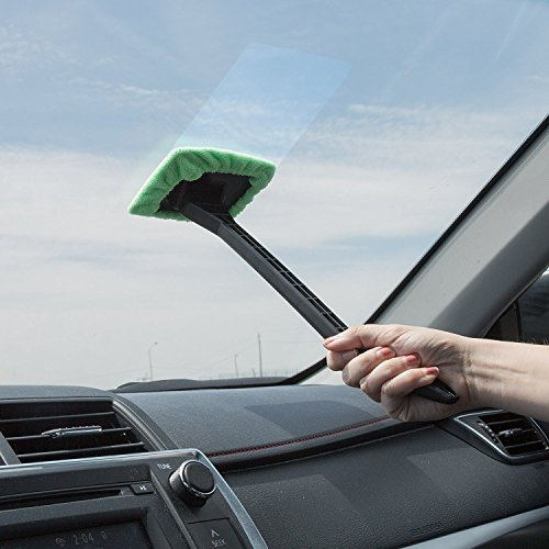 Around Windshield (Windshield Cleaner with Microfiber Cloth, Handle and Pivoting Head- Glass Washer Cleaning Tool for Windows By Stalwart (Green))
