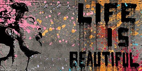 Culturenik Banksy Life is Beautiful Inspirational Motivational Political Decorative Graffiti Urban Art Print (Unframed 12x24 Poster)
