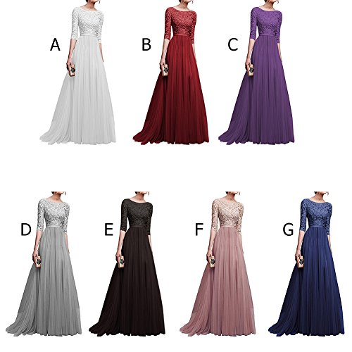 d761215c2e7 IBTOM CASTLE Womens Vintage Lace Bridesmaid Long Dresses Prom Evening  Cocktail 3 4 Sleeves Tulle Floral Retro Maxi Gowns