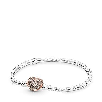 fcc2a5449007b Pandora Sterling Silver Bracelet Rose Pavé Heart Clasp, Cubic Zirconia, 7.1  in
