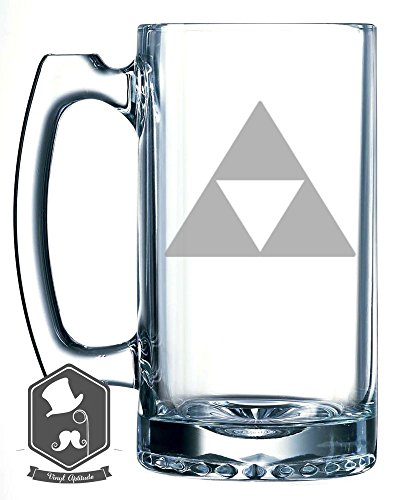 Legend of Zelda Triforce Logo Video Game Inspired 25 OZ Hand-made Etched Beer Mug Glass Stein