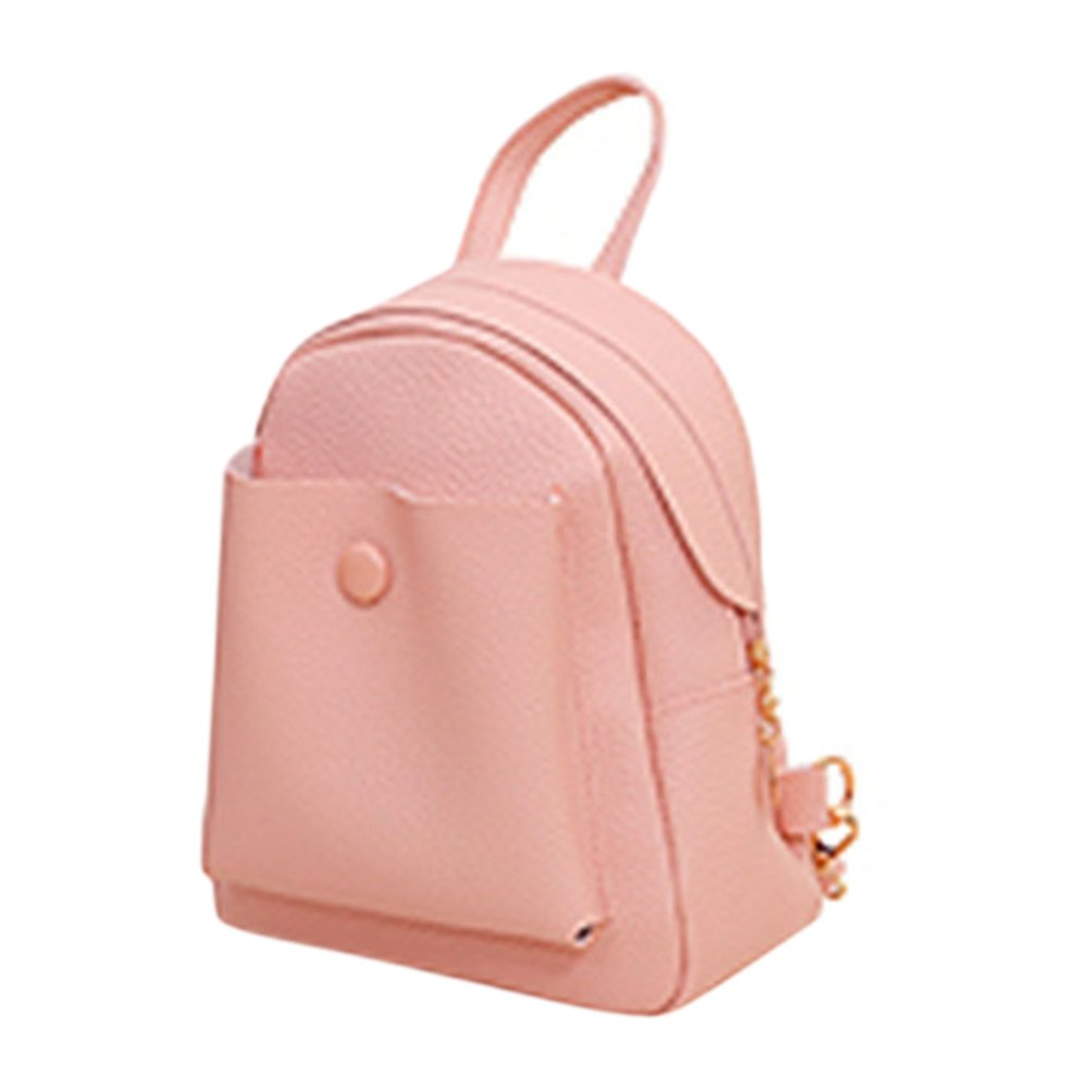 ShiningLove New Fashion Womens Casual Solid Color PU Leather Backpack Girls Daily Schoolbag Shoulder Bag Satchel Pink