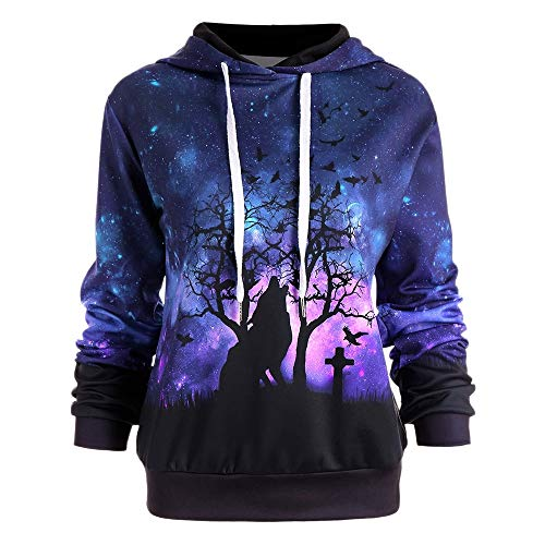 Long Sleeve Halloween Galaxy and Wolf Print Drawstring Hoodies for Women from DRESSFO