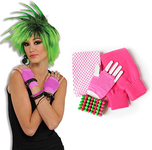 Images 80s Costumes (80s Leg Warmers, Fishnet Stockings, Fingerless Gloves and Rock Bracelet (Neon Pink))