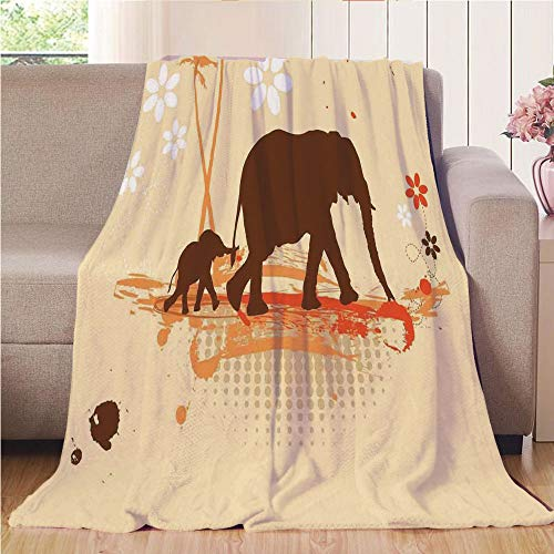 (Throw Blanket Custom Cozy Blanket Perfect for Couch Sofa or Bed Beautiful 3D Printed,Elephant,Mother and Baby Elephants in Tropical Lands Desert Print of Safari Kids,Orange Brown Cream,31.50