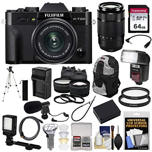 Fujifilm X-T20 Wi-Fi Digital Camera & 15-45mm XC OIS PZ (Black) & 50-230mm Lens + 64GB Card + Backpack + Battery/Charger + Flash + LED & Mic + Lens Kit