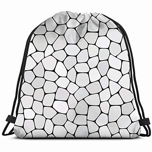 Stone Plate Paving Abstract Drawstring Backpack Bag for Kids Boys Girls Teens Birthday, Gift String Bag Gym Cinch Sack for School and Party 14.2 x 16.9 ()