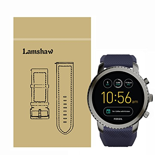 Lamshaw Classic Silicone Replacement Band for Fossil Q Explorist Smartwatch (Blue)